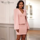 Pink V Neck Sleeveless Mini 2 Piece Bodycon Dress FLY19190-Pink