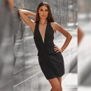 Black V Neck Sleeveless Mini Backless Bodycon Dress HB6252-Black