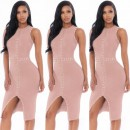 Round Neck Sleeveless Knee length Bead Pink High quality Bandage dress HT1179-PINK