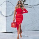 Red Off Shoulder Long Sleeve Over Knee Wrinkled Asymmetrical Bodycon Dress HT2305-Red