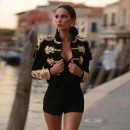 Black High Neck Long Sleeve Bead Embroidered Bodycon Jacket HT2346-Black