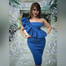 Blue One Shoulder Sleeveless Mini Wavy Decoration Sexy Bodycon Dress HW300-Blue