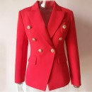 Red V Neck Long Sleeve Metal Ornamental Buckle Formal Bodycon Jacket SL101601-Red