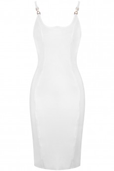 White Strappy Sleeveless Over Knee Metal Ornamental Buckle Backless Bandage Dress PF19105-White