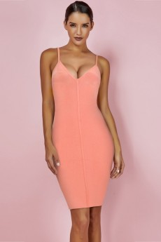 Peach Strapy Sleeveless Mini Backless Bandage Dress PF19001-Peach