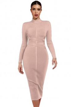 LEMAFER Nude Round Neck Long Sleeve Knee Length Ribbed Lace Up Party Bandage Dress LPF1201-Nude