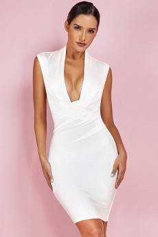 White V Neck Sleeveless Mini Bandage Dress PF19093-White