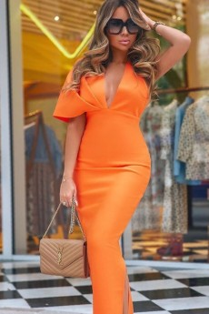 Orange V Neck Short Sleeve Maxi Backless Bandage Dress PF19077-Orange
