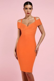 Orange V Neck Short Sleeve Over Knee Strapy Bandage Dress PF19089-Orange