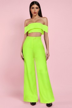 Neon Green Off Shoulder Mid Sleeve Maxi 2 Piece Bodycon Jumpsuits FSP19090-Neon-Green