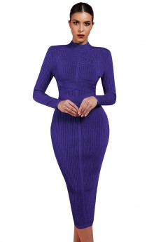 Royal-Blue Round Neck Long Sleeve One Piece Simple Long Fashion Bandage Dress PF1201-Royal-Blue