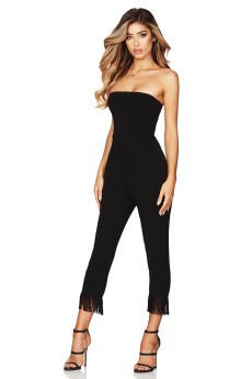 Black Strapless Sleeveless Maxi Tassels Fashion Bandage Jumpsuits PF19036-Black