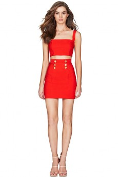 Red Strappy Sleeveless 2 Piece Metal Studded Mini Party Bodycon Dress PF19040-Red