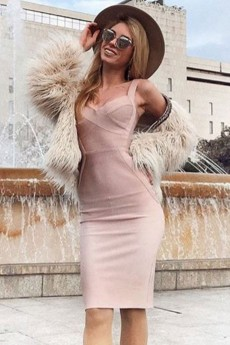 Nude V Neck Sleeveless Over Knee Strappy High Quality Bandage Dress PF19047-Nude