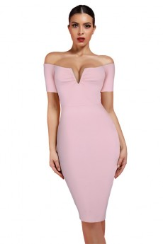 Peach Strapless Mid Sleeve Over Knee Bandage Dress PF19051-Peach