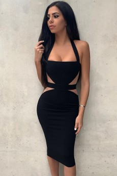 Black Halter Sleeveless Over Knee Backless Bandage Dress PF19059-Black
