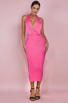 Neon Pink V Neck Sleeveless Over Knee Halter Bandage Dress PF19075-Neon-Pink