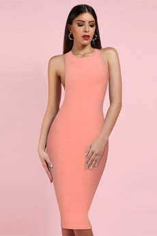 Pink Round Neck Sleeveless Over Knee Backless Bandage Dress PF19078-Pink