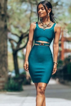 Aquamarine Strapy Sleeveless Mini Bandage Dress PF19080-Aquamarine