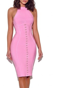Pink Round Neck Sleeveless Mini Metal Buckle Bandage Dress PF19098-Pink