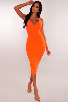Orange Round Neck Sleeveless Over Knee Elegant Bandage Dress PF19110-Orange