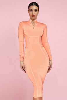 Orange Collar Long Sleeve One Piece Spliced Long High Quality Bandage Dress PP19026-Orange
