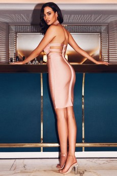 Nude High Neck Sleeveless Mini Backless High Quality Bandage Dress PP19038-Nude