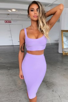 Purple Strapy Sleeveless Mini 2 Piece Bandage Dress PP19058-Purple