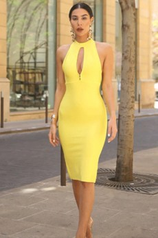 Yellow Halter Sleeveless Over Knee Cutout Slit Bandage Dress PP19096-Yellow