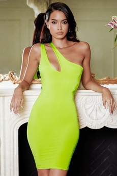 Fluorescent Green One Shoulder Sleeveless Mini Cutout Bandage Dress PP19120-Fluorescent-Green