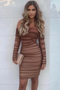 Brown Off Shoulder Long Sleeve Over Knee Chiffon Bodycon Dress FSP19054-Brown
