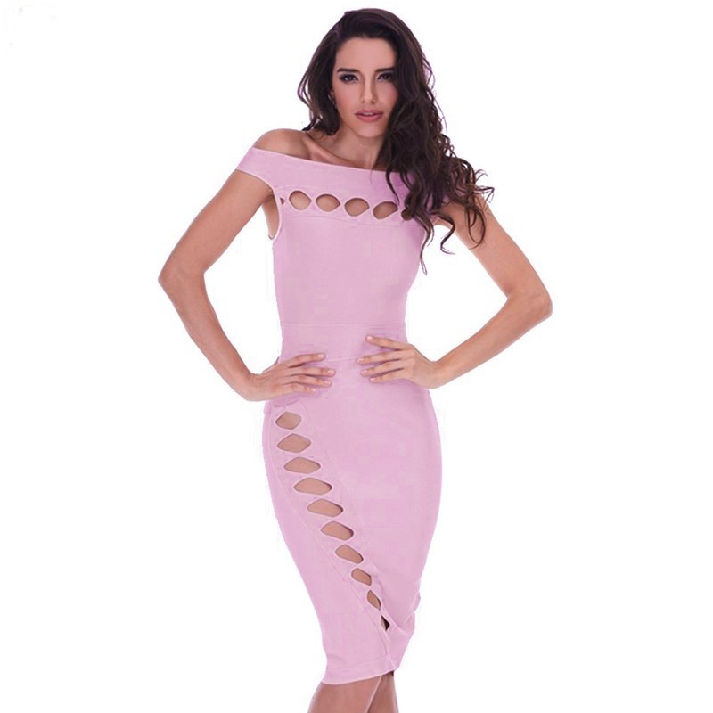 Fashion Off Shoulder Sleeveless Mini Light Purple Cut Out Bandage Dress HD387-Light Purple