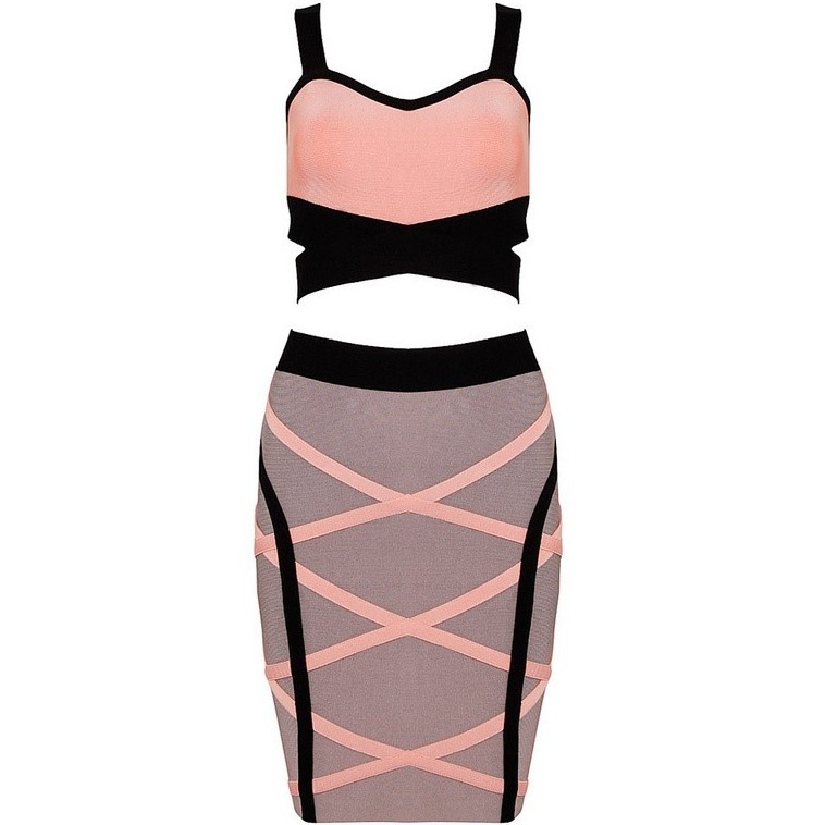 High Quality Strapy Sleeveless Skirt Set 2 Piece Pink Cocktail  Bandage Dress HB281-pink