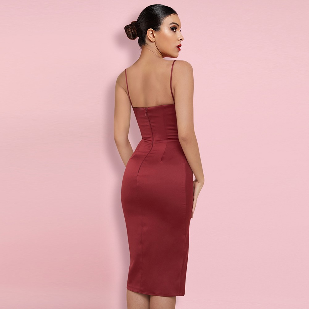 Wine Strappy Sleeveless Over Knee Wrinkled Backless Bodycon Dress HI1194-Wine