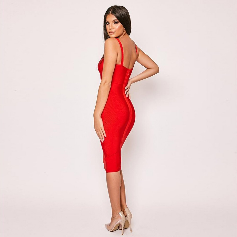 Red Strappy Sleeveless Over Knee Cut Out Backless Bandage Dress PF19318-Red